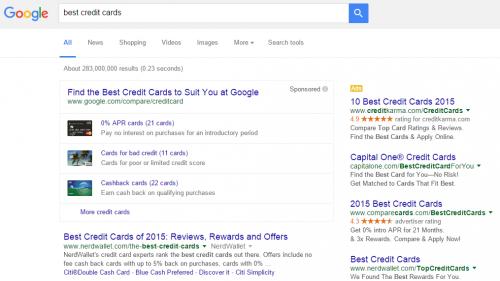 דוגמה בזירת השוואת כרטיסי אשראי